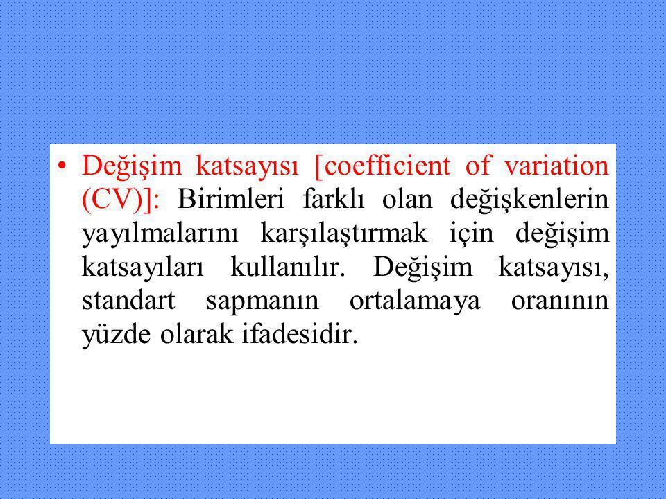 Değişim katsayısı [coefficient of variation (CV)]: Birimleri farklı olan değişkenlerin yayılmalarını karşılaştırmak için değişim katsayıları kullanılır.